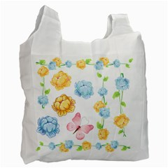 Rose Flower Floral Blue Yellow Gold Butterfly Animals Pink Recycle Bag (One Side)