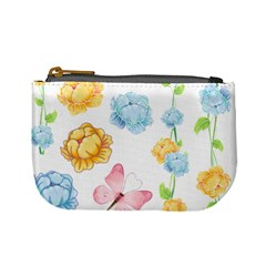 Rose Flower Floral Blue Yellow Gold Butterfly Animals Pink Mini Coin Purses