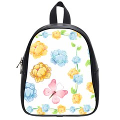 Rose Flower Floral Blue Yellow Gold Butterfly Animals Pink School Bags (Small)