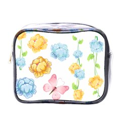 Rose Flower Floral Blue Yellow Gold Butterfly Animals Pink Mini Toiletries Bags