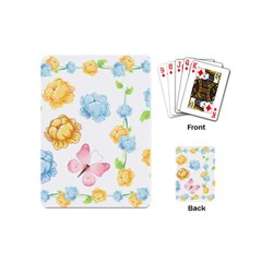 Rose Flower Floral Blue Yellow Gold Butterfly Animals Pink Playing Cards (Mini)