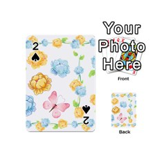 Rose Flower Floral Blue Yellow Gold Butterfly Animals Pink Playing Cards 54 (Mini)