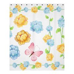 Rose Flower Floral Blue Yellow Gold Butterfly Animals Pink Shower Curtain 60  x 72  (Medium)