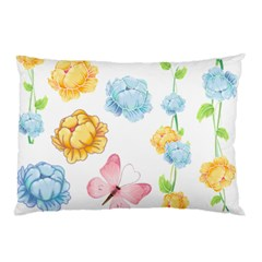 Rose Flower Floral Blue Yellow Gold Butterfly Animals Pink Pillow Case (Two Sides)