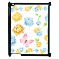 Rose Flower Floral Blue Yellow Gold Butterfly Animals Pink Apple iPad 2 Case (Black)