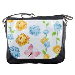 Rose Flower Floral Blue Yellow Gold Butterfly Animals Pink Messenger Bags