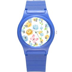 Rose Flower Floral Blue Yellow Gold Butterfly Animals Pink Round Plastic Sport Watch (S)
