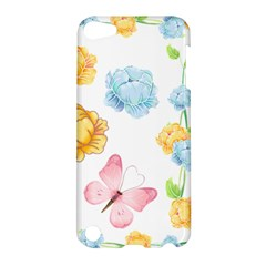 Rose Flower Floral Blue Yellow Gold Butterfly Animals Pink Apple iPod Touch 5 Hardshell Case