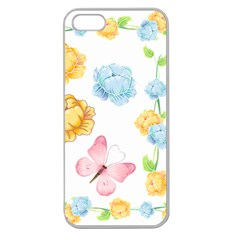 Rose Flower Floral Blue Yellow Gold Butterfly Animals Pink Apple Seamless Iphone 5 Case (clear)