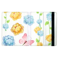 Rose Flower Floral Blue Yellow Gold Butterfly Animals Pink Apple iPad 3/4 Flip Case