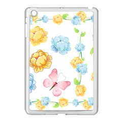 Rose Flower Floral Blue Yellow Gold Butterfly Animals Pink Apple iPad Mini Case (White)