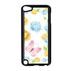 Rose Flower Floral Blue Yellow Gold Butterfly Animals Pink Apple Ipod Touch 5 Case (black)