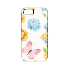 Rose Flower Floral Blue Yellow Gold Butterfly Animals Pink Apple iPhone 5 Classic Hardshell Case (PC+Silicone)