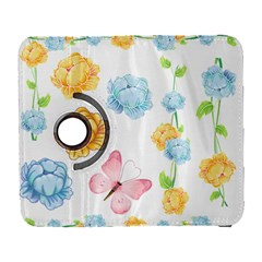 Rose Flower Floral Blue Yellow Gold Butterfly Animals Pink Galaxy S3 (Flip/Folio)