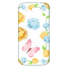Rose Flower Floral Blue Yellow Gold Butterfly Animals Pink Samsung Galaxy S3 S III Classic Hardshell Back Case