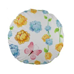 Rose Flower Floral Blue Yellow Gold Butterfly Animals Pink Standard 15  Premium Round Cushions