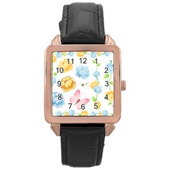 Rose Flower Floral Blue Yellow Gold Butterfly Animals Pink Rose Gold Leather Watch