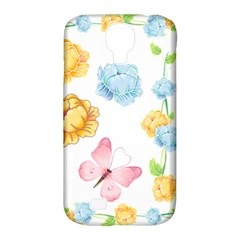 Rose Flower Floral Blue Yellow Gold Butterfly Animals Pink Samsung Galaxy S4 Classic Hardshell Case (PC+Silicone)