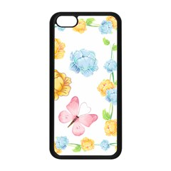 Rose Flower Floral Blue Yellow Gold Butterfly Animals Pink Apple iPhone 5C Seamless Case (Black)