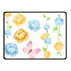 Rose Flower Floral Blue Yellow Gold Butterfly Animals Pink Double Sided Fleece Blanket (Small)