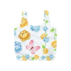 Rose Flower Floral Blue Yellow Gold Butterfly Animals Pink Full Print Recycle Bags (S)