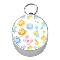 Rose Flower Floral Blue Yellow Gold Butterfly Animals Pink Mini Silver Compasses