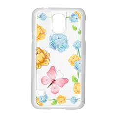 Rose Flower Floral Blue Yellow Gold Butterfly Animals Pink Samsung Galaxy S5 Case (White)