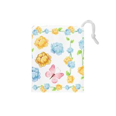 Rose Flower Floral Blue Yellow Gold Butterfly Animals Pink Drawstring Pouches (Small)