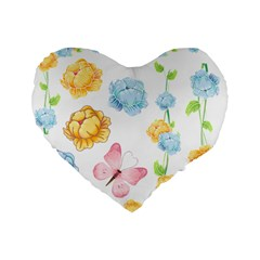 Rose Flower Floral Blue Yellow Gold Butterfly Animals Pink Standard 16  Premium Flano Heart Shape Cushions