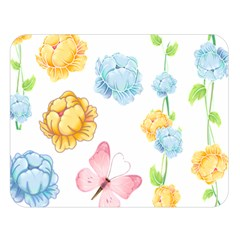 Rose Flower Floral Blue Yellow Gold Butterfly Animals Pink Double Sided Flano Blanket (Large)