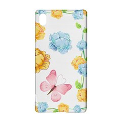 Rose Flower Floral Blue Yellow Gold Butterfly Animals Pink Sony Xperia Z3+
