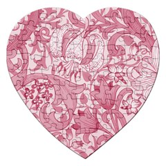 Vintage Style Floral Flower Pink Jigsaw Puzzle (Heart)