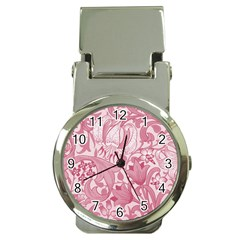 Vintage Style Floral Flower Pink Money Clip Watches