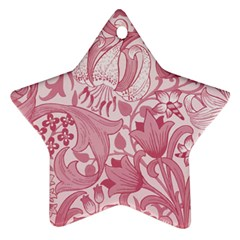 Vintage Style Floral Flower Pink Star Ornament (Two Sides)