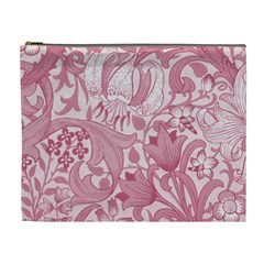 Vintage Style Floral Flower Pink Cosmetic Bag (xl)