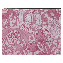 Vintage Style Floral Flower Pink Cosmetic Bag (xxxl)