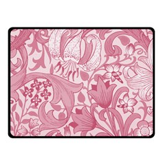 Vintage Style Floral Flower Pink Double Sided Fleece Blanket (Small)