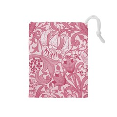 Vintage Style Floral Flower Pink Drawstring Pouches (Medium)