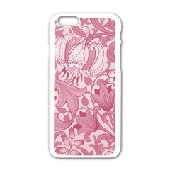 Vintage Style Floral Flower Pink Apple iPhone 6/6S White Enamel Case