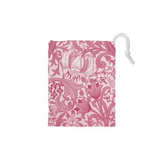 Vintage Style Floral Flower Pink Drawstring Pouches (xs)