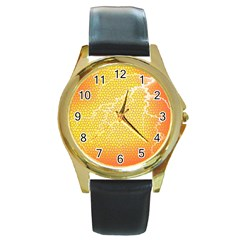 Exotic Backgrounds Round Gold Metal Watch