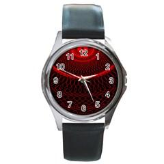 Red Spiral Featured Round Metal Watch