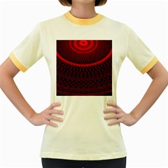 Red Spiral Featured Women s Fitted Ringer T-Shirts