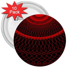 Red Spiral Featured 3  Buttons (10 Pack)