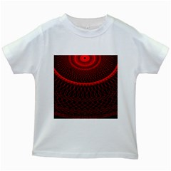 Red Spiral Featured Kids White T-Shirts