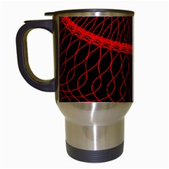 Red Spiral Featured Travel Mugs (White)