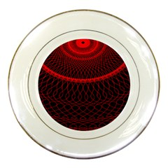 Red Spiral Featured Porcelain Plates
