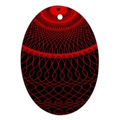 Red Spiral Featured Oval Ornament (Two Sides)
