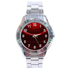 Red Spiral Featured Stainless Steel Analogue Watch
