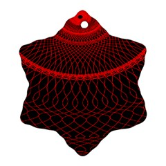 Red Spiral Featured Snowflake Ornament (Two Sides)